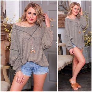 JUST RESTOCKED! Taupe -Black Blended Slouchy Tunic